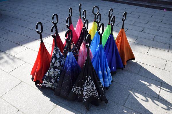 50 PCS Invertido Guarda-chuva Sol Chuva Longo-Lidar Com Umbrella Reverse À Prova de Vento Guarda-chuvas C Lidar Ampliar Reforço Paraguas
