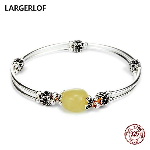 LARGERLOF браслет серебро 925 натуральный янтарь браслеты женщины ювелирные изделия 925 серебряный браслет для подвески BR50120