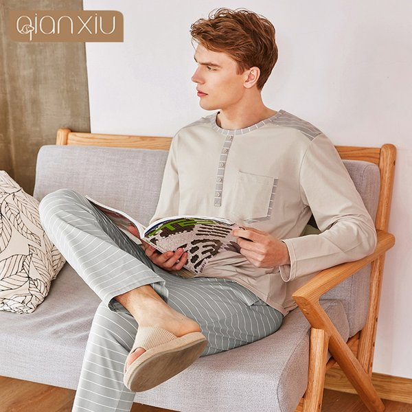 2018 Autumn Homewear Men Casual Striped Pajama sets Male Cotton Sleepwear suit Couples Long sleeve V-neck collar t shirt & Pants