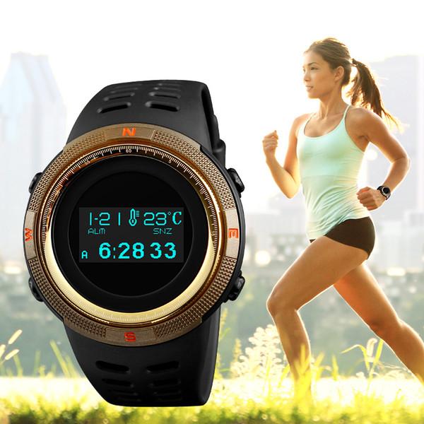 SKMEI 1360 Moda Spor İzle Erkekler Su Geçirmez Kalori Adımları Kilometre Dijital PU Kayış Izle Pusula Kol Saati Relogio Masculino XFCS