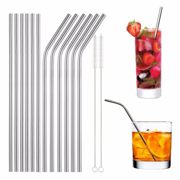 best selling Reusable Stainless Steel Metal Drinking Straw Bent and Straight Type and Cleaner Brush For Home Party Bar Accessories