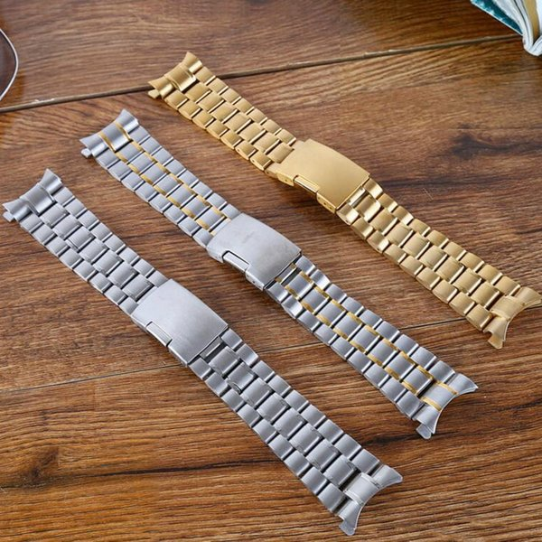 neway 16 18 20 22 24mm Silver Gold 316L Stainless Steel Curved End Wrist Watch Band Strap Replacement men metal Bracelet Belt