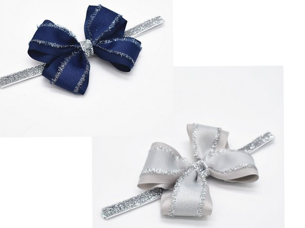 10pcs hair bands accessories for girls baby navy glitter grosgrain ribbon bows headwear headbands elastic hairband HD110