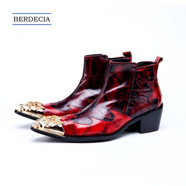 2018 Fashion Fashion Winter Gold Metal Pointed Toe Men Ankle Boots Red Genuine Leather Motorcycle Boots Banquet Party Shoes Size 38-47