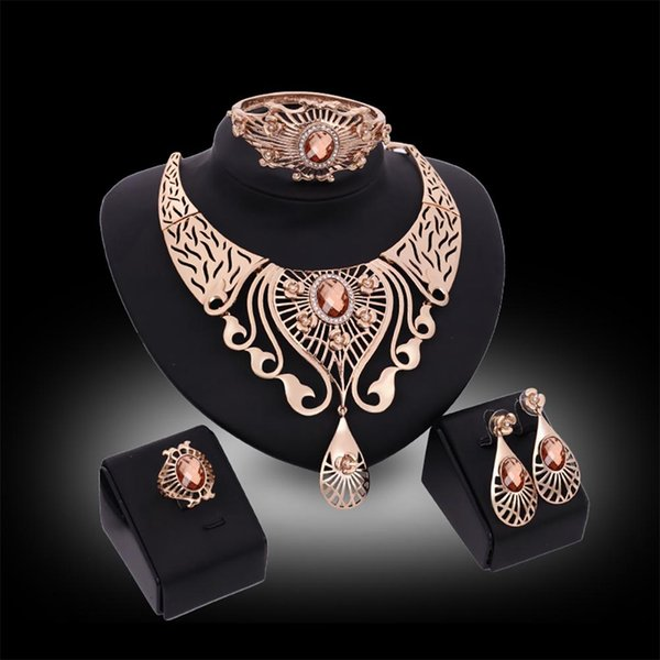 Свадебные украшения серьги ожерелья ювелирных изделий для женщин Мода сплава Свадебные украшения Наборы для невесты партии костюм аксессуары