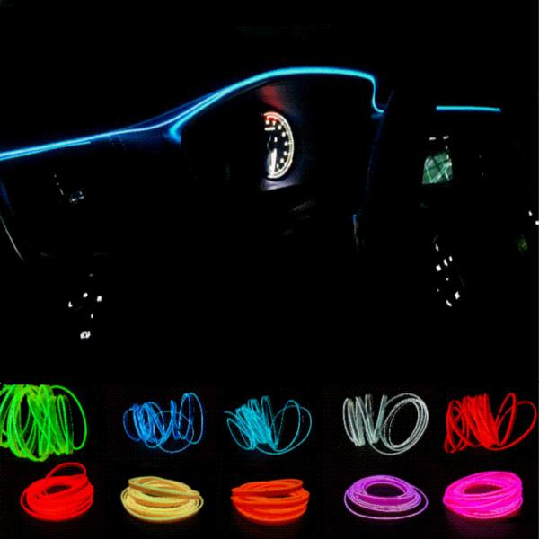 JURUS Universel DIY Décoration 12V Auto Voiture Intérieur LED Neon Light EL Câble Corde Tube Line10 Couleurs 1 Mètre de voiture styling light