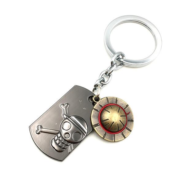 뜨거운 애니메이션 시리즈 원피스 키 체인 Luffy 밀 짚 모자 해골 초커 열쇠 고리 합금 열쇠 고리 홀더 기념품 선물