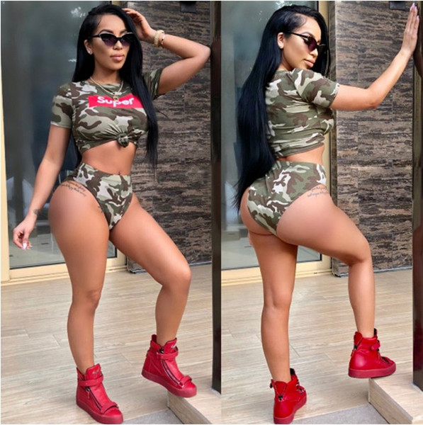 Original Cross-Border 2018 Fashion Women D8100 Selling High-end Beautiful Charming Camouflage Swimsuit Twinset Comfort Two-piece Beauty