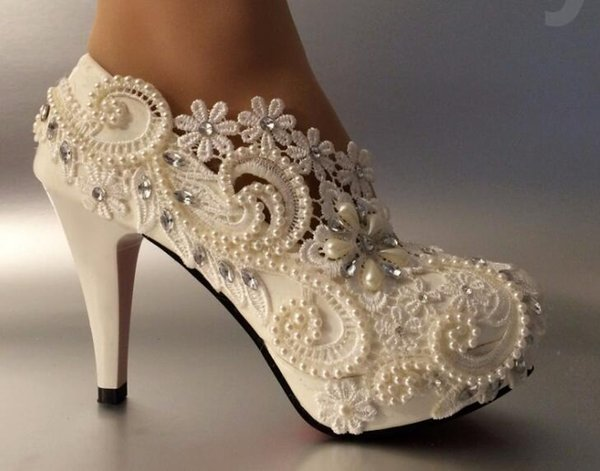 self-design heel white ivory lace crystal pearls Wedding shoes pumps bride size 5-11
