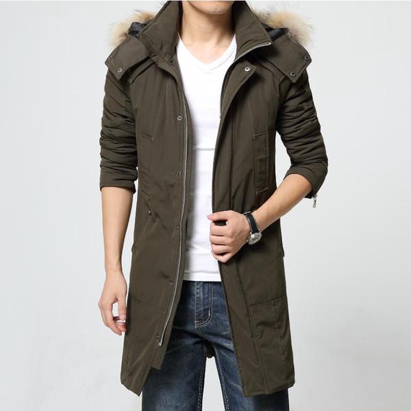 Wholesale- Winter Coats 2016 Fashion Fur Hood Solid Long Jacket Men Warm Parkas 2016 Cotton Padded Outwear Ultralight Parka Jackets 6021