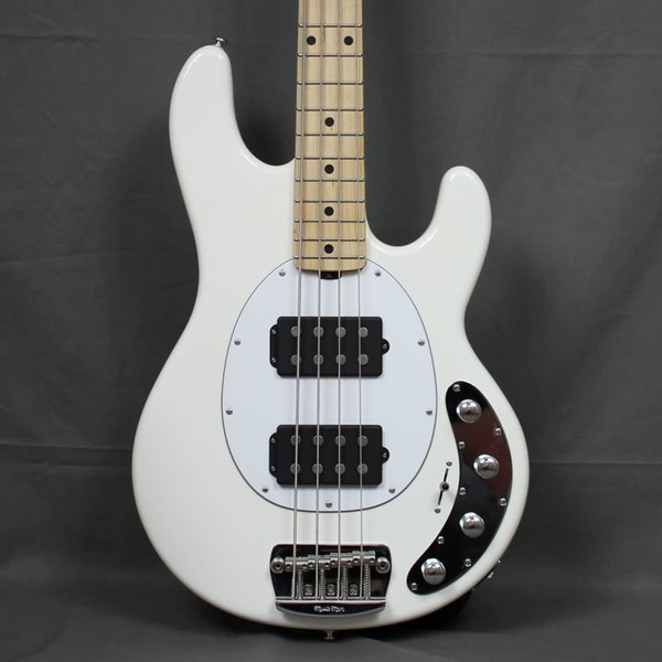 Music Man 4 Strings Ernie Ball StingRay White Electric Bass Guitar Ash Body,Maple Neck & Fingerboard, HH Active Pickups, 9V Battery Box,
