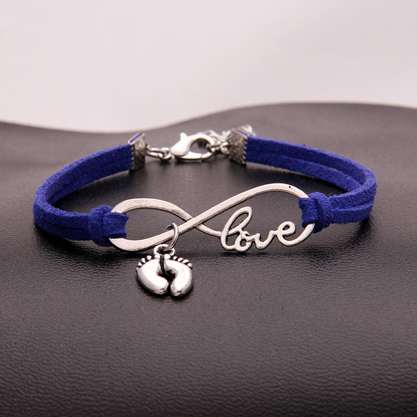 Fashion Unisex Multi-layer PU Dark Blue Leather Winding Bracelets Infinity Love Foot Feet Pendant Charm Bangles for Women Men Alloy Jewelry