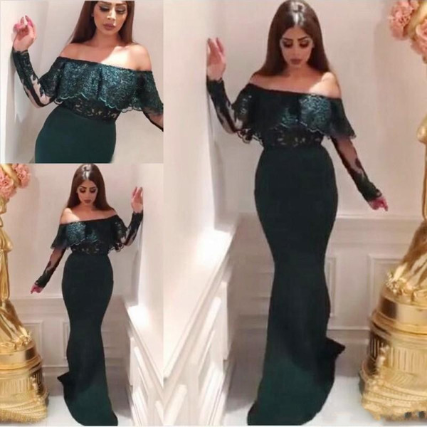 Dark Green Mermaid Arabic Evening Dresses 2018 Off Shoulder Long Sleeves Lace Top Long Formal Prom Party Special Occasion Gowns Cheap Custom
