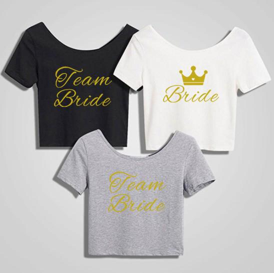 C&Fung bride to be team bride sexy cropped top gold fancy style letters tShirt Bachelorette tee top Party favors wedding gift