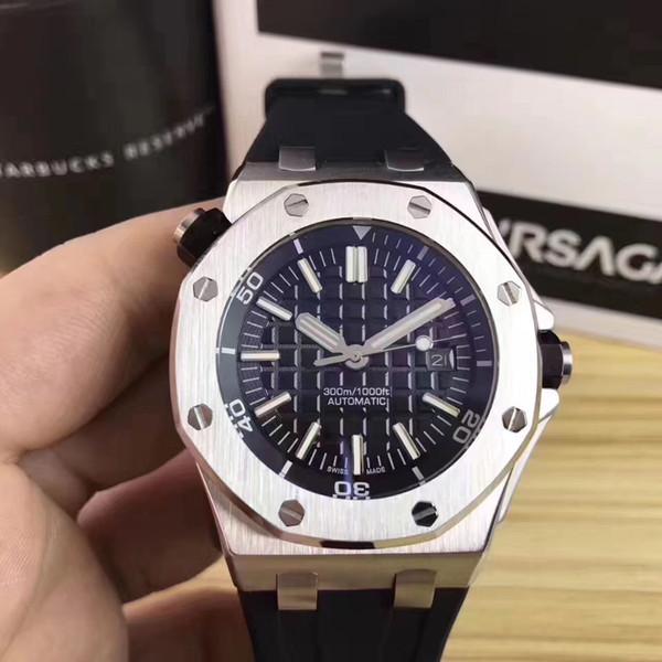 Sıcak Satış Lüks İzle Paslanmaz Çelik Kasa Ile Renk Kauçuk Watchband Otomatik Mekanik 15710ST Erkekler Erkek Izle Saatler
