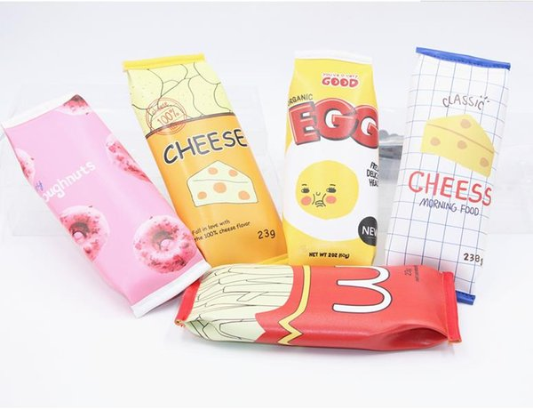 New Creative Funny Snacks Style Kawaii Chips Cheese Popcorm Fast Food Pencil Bags Colorful PU Cases Wholesale
