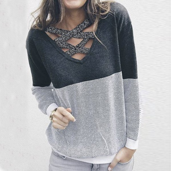 Wholesale-Female Reversible Hollow Out Knitted Sweater Pullover Backless Long Sleeve Two Side Wear Autumn Winter Plus Size Jumper GV151