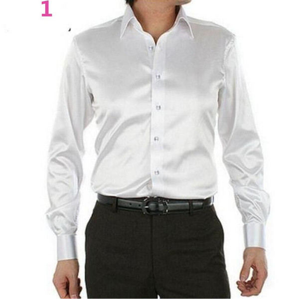 Men's Dress Shirt Custom Casual Suits Silk Satin Long sleeve Casual shirts Stylish Groom Shirts