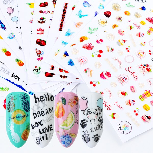 1pcs 3D Nail Stickers Mix Color Cartoon Fruit Cake New Designs Adhesive Sliders For Nail Decals DIY Manicure Stencil LACA277-288