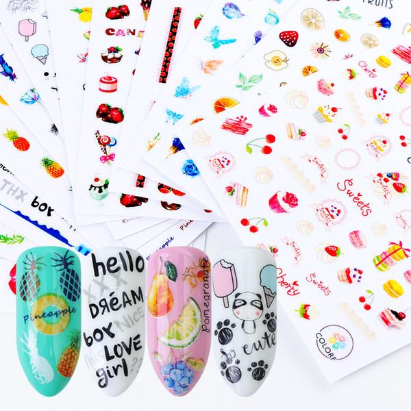 1 pcs 3D Nail Stickers Mix Couleur Gâteau Aux Fruits De Bande Dessinée Nouveau Designs Curseurs Adhésifs Pour Ongles Stickers DIY Manucure Pochoir LACA277-288