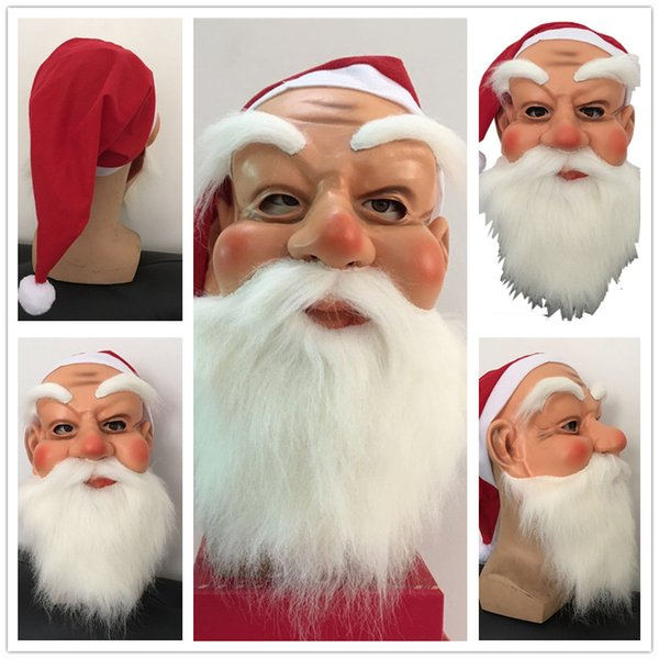 Christmas Cosplay Head Mask Santa Claus Role-playing Beard Mask Kindergarten Children Kids Face Toys Masks for Xmas Festival Party Gifts New