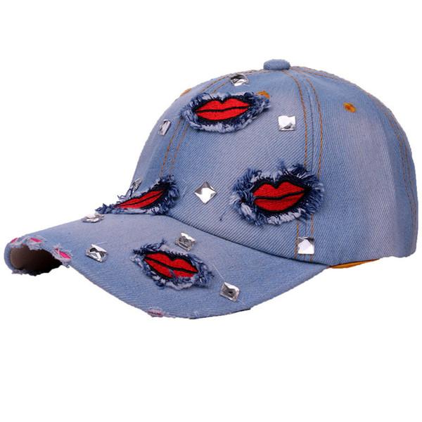 2018 Fashion Denim Lip Patchwork Rhinestone Baseball Caps For Women Men Sun Adjustable Snapback Caps Summer Holidays Hats Unisex