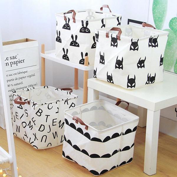 Cotton Linen Sundries Storage Basket Cartoon Toy Storage Barrel Desktop Organizer Cosmetics Receive Cloth Basket 0327