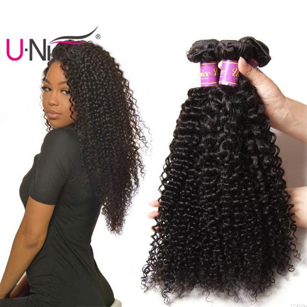 Unice Hair Brazilian Kinky Curly Wave 4 Bundles Mix Length 8 26 Inch Human Hair Extensions Virgin Hair Weave Bundles Wholesale Bulk Cheap Hair Weave