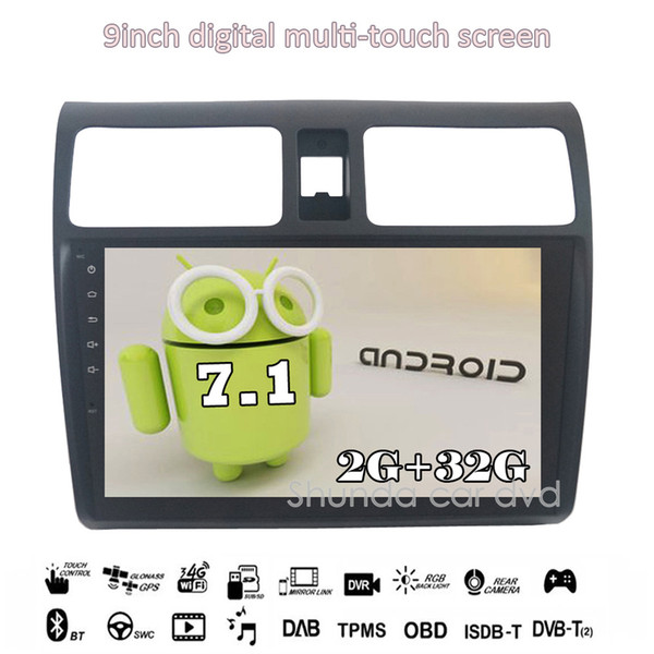 SHUNDA 9inch HD Android 7.1 T3 for Suzuki 2005-2016 Swift Car DVD player with 3G 4G WIFI GPS Radio BT Navi SWC stereo free map