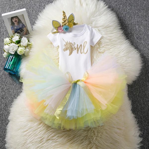 Conjuntos de unicornio para bebés, bebés, un mameluco + faldas de encaje TUTU de arco + tocado 3pcs / set Trajes de cumpleaños para recién nacidos boutique Conjuntos de ropa para niños H036