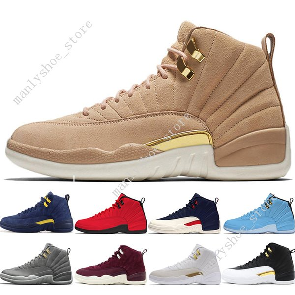 12 12s hommes chaussures de basket-ball Michigan Bulls College Navy UNC NYC Vachetta Tan Wheat Gris foncé Bordeaux Wings Playoffs hommes