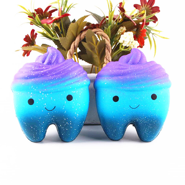 Original Squishy Rainbow Tooth Slow Rising Kawaii Catoon Phone Strap Pendant Squeeze Bread Cake Toys Gift wholesales