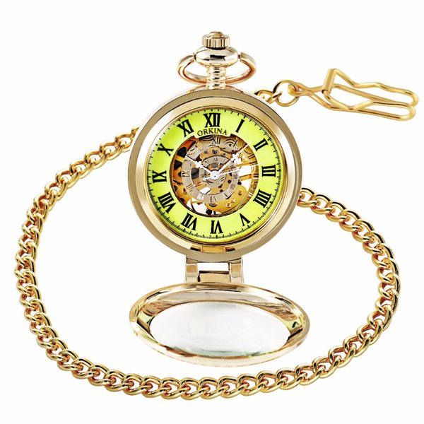ORKINA Chain Watch Gold-tone Case Luminous Dial Skeleton Mechanical Pocket Fob Watch with Magnifier Cover reloj de bolsillo