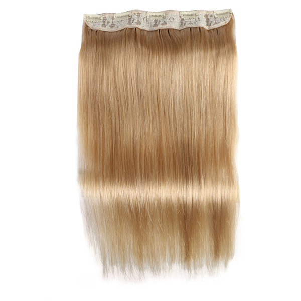 ELIBESS HAIR -Straight Full Head Clip in Machine Made Remy Hair Extensions 100g/pc #27#613#1B#4 Brown Color 5 Clips in 1 piece Human Hair