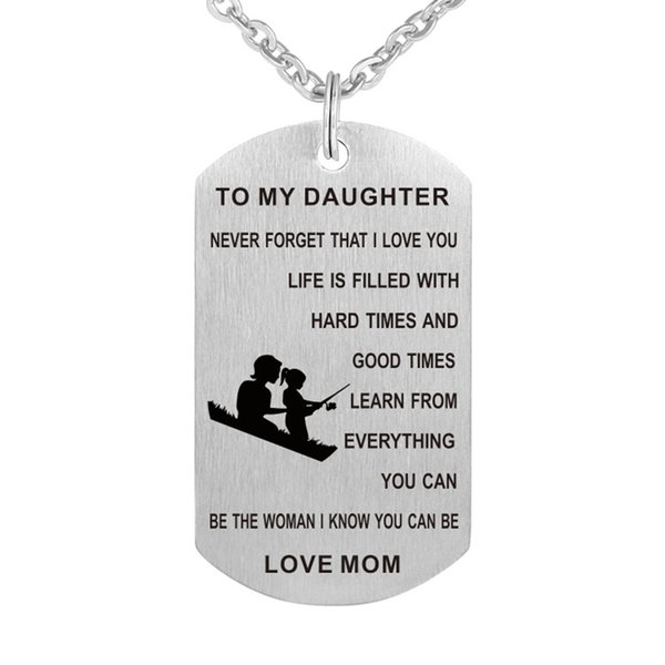 10cs/lot wholesale To my daughter never forget i love you...love mom pendant necklace for children jewelry gift