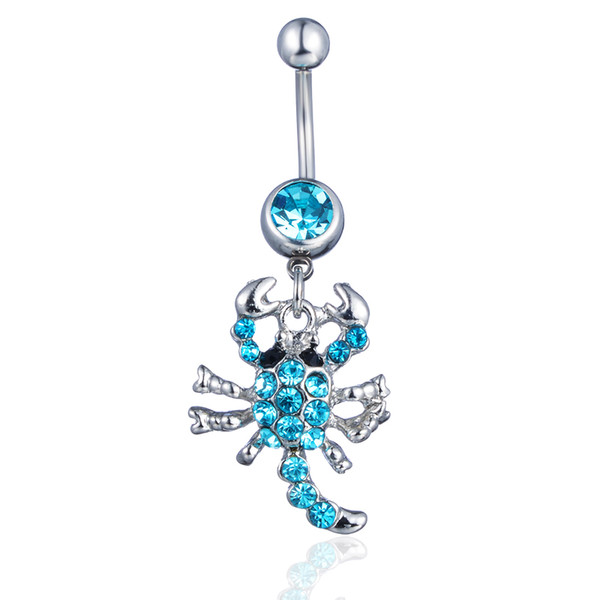 D0074-4 ( 5 colors ) Belly navel ring Nice The scorpion navel belly ring 20 pcs AQUA color stone drop shipping