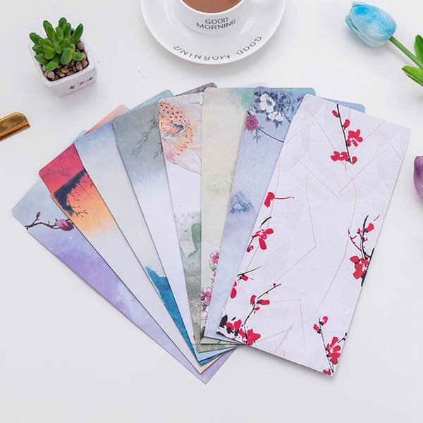 10Pcs/Pack New Chinese Traditional Vintage Style Classic Painting Mini Greeting Birthday Letter Envelope Gift