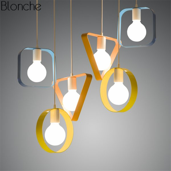 Modern Colorful Geometry Pendant Lights Led Iron Hanglamp Square/ring/triangle/rectangle Lamp Living Room Light Fixtures Decor