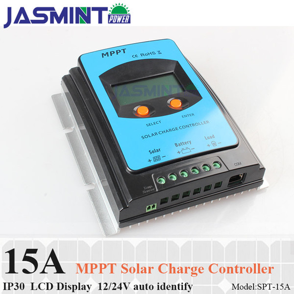 15A MPPT Painel Solar Regulador Da Bateria Controlador de carga solar controlador de carga 12 v 24 V auoto reconhecer com display LCD