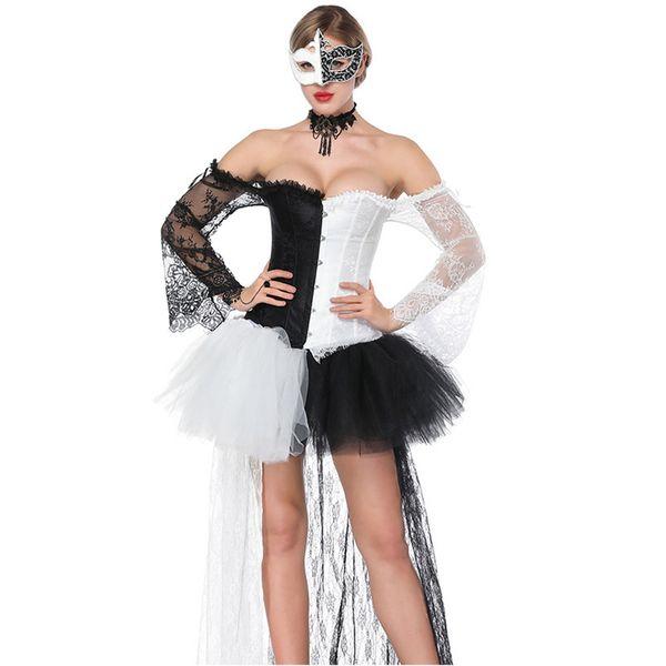 Negro blanco de manga larga corsé Steampunk traje Burlesque vestido gótico Ropa Espartilhos E Corpetes Sexy Korse para mujeres