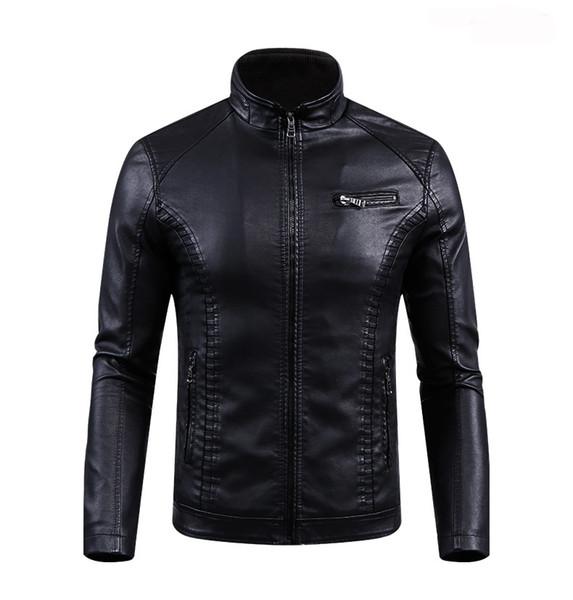 Free shipping long sleeve pu leather leather jacket for man European and American washed leather jacket large size autumn&winter PU jacket