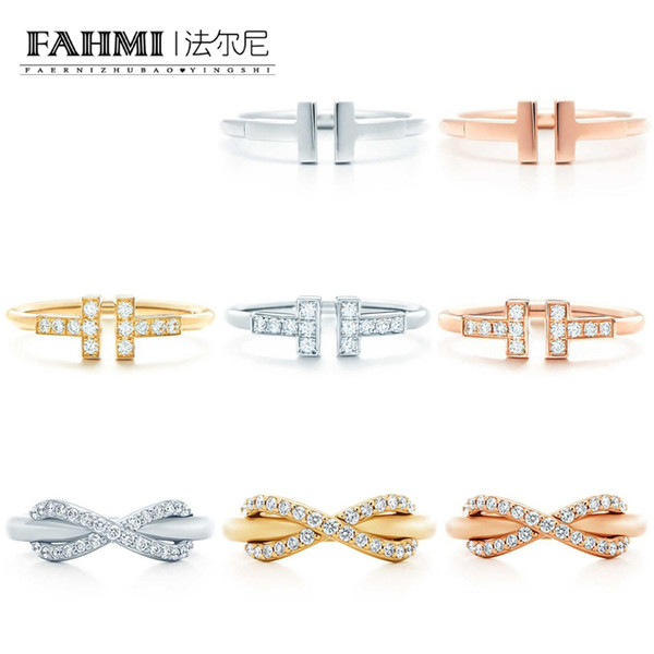 FAHMI 100% 925 Sterling Silver 1:1 Original Authentic Classic T Word X Word Golden Silver Rose Gold Exquisite Wedding Women Ring Jewelry