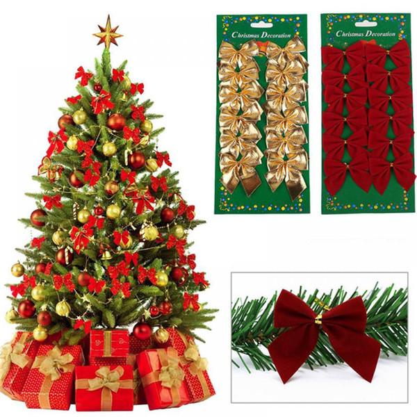 12 Teile / satz Hübsche Fliege Christbaumschmuck Weihnachten Anhänger Baum Dekoration Christbaumkugeln 2019 Neue Jahr Dekorationen Für Zuhause