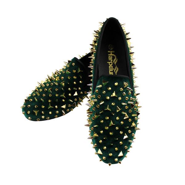 Harpelunde Slip-on Men Dress Wedding Shoes Handmade Green Velvet Loafers Spikes Fashion Flats 6 to 14