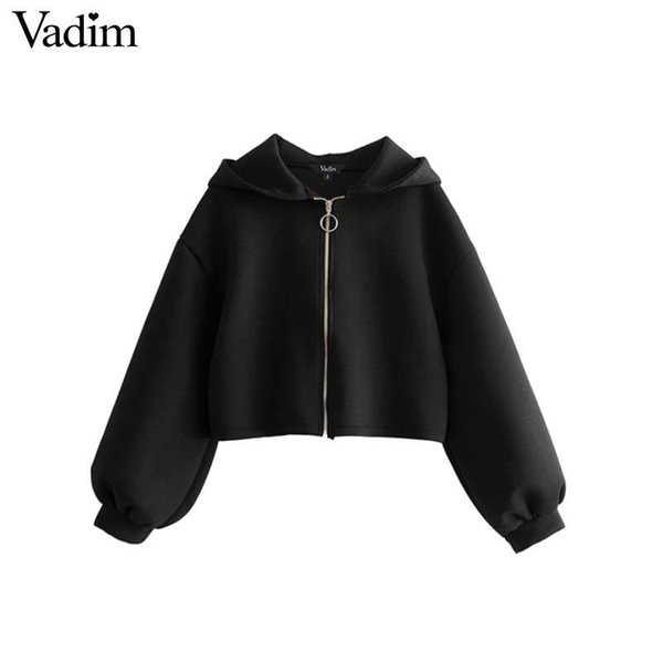 Vadim women black hooded loose jacket oversized long sleeve solid coats short style female casual outerwear chic tops CA240 C18110601