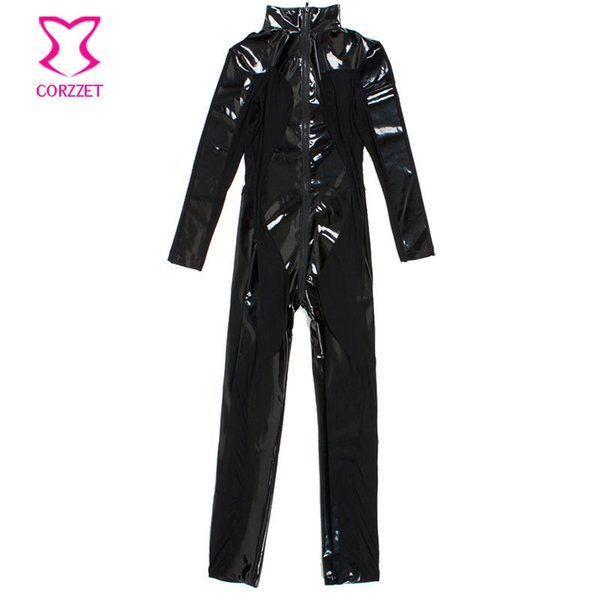Corzzet Halloween Black Latex Rubber Costume Transpare&Mesh Zipper Zentai Catsuit Women Erotic Plus Size Catsuit
