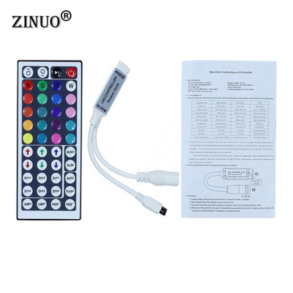 ZINUO 1pcs DC12V 44Key Mini control remoto por infrarrojos para cinta flexible SMD3528 5050 RGB LED Strip Lights
