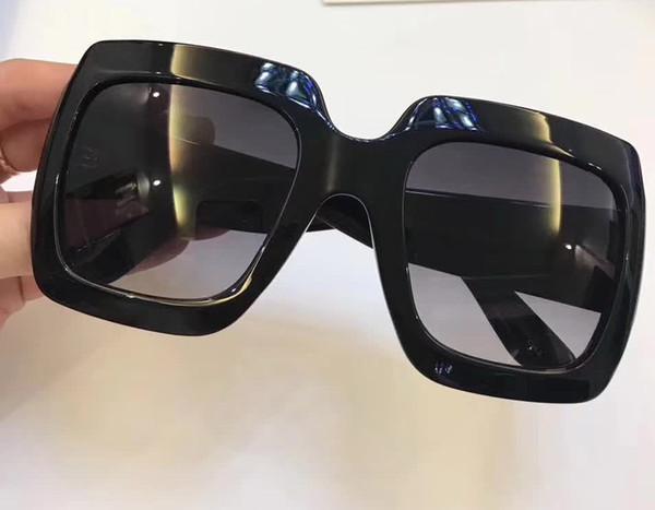 Kadınlar 0053 S 0053 Boy Kare Güneş Gözlüğü Siyah Gri Degrade Lens 54mm MODA MARKA SUNGLASSES orijinal Kılıf Ile