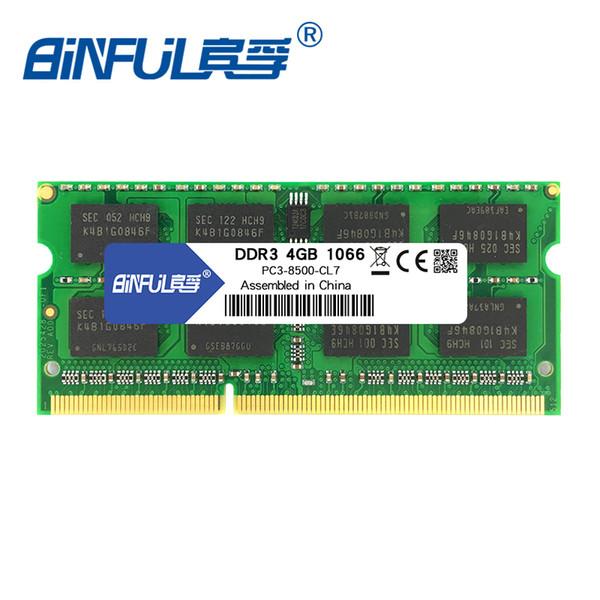 pc3-8500 ddr3 1066mhz 4 Binful DDR3 2 4GB 1066MHz PC3-8500 for laptop memoria Ram Notebook Memory sodimm 1.5V