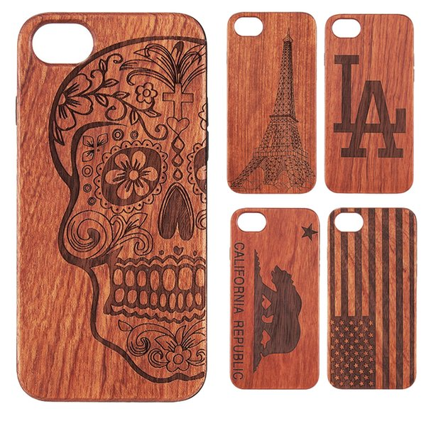 Wood Luxury Phone Case for iPhone 8 7 Plus Skull Flag Eiffel Tower Hard Back Wooden Carving Timeber Cover for iPhone8
